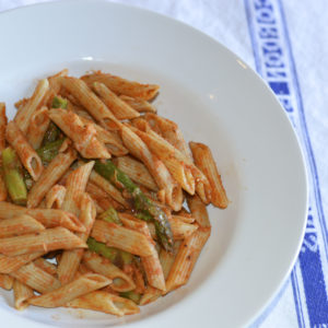 Penne in Vodka Sauce with Roasted Aspara...