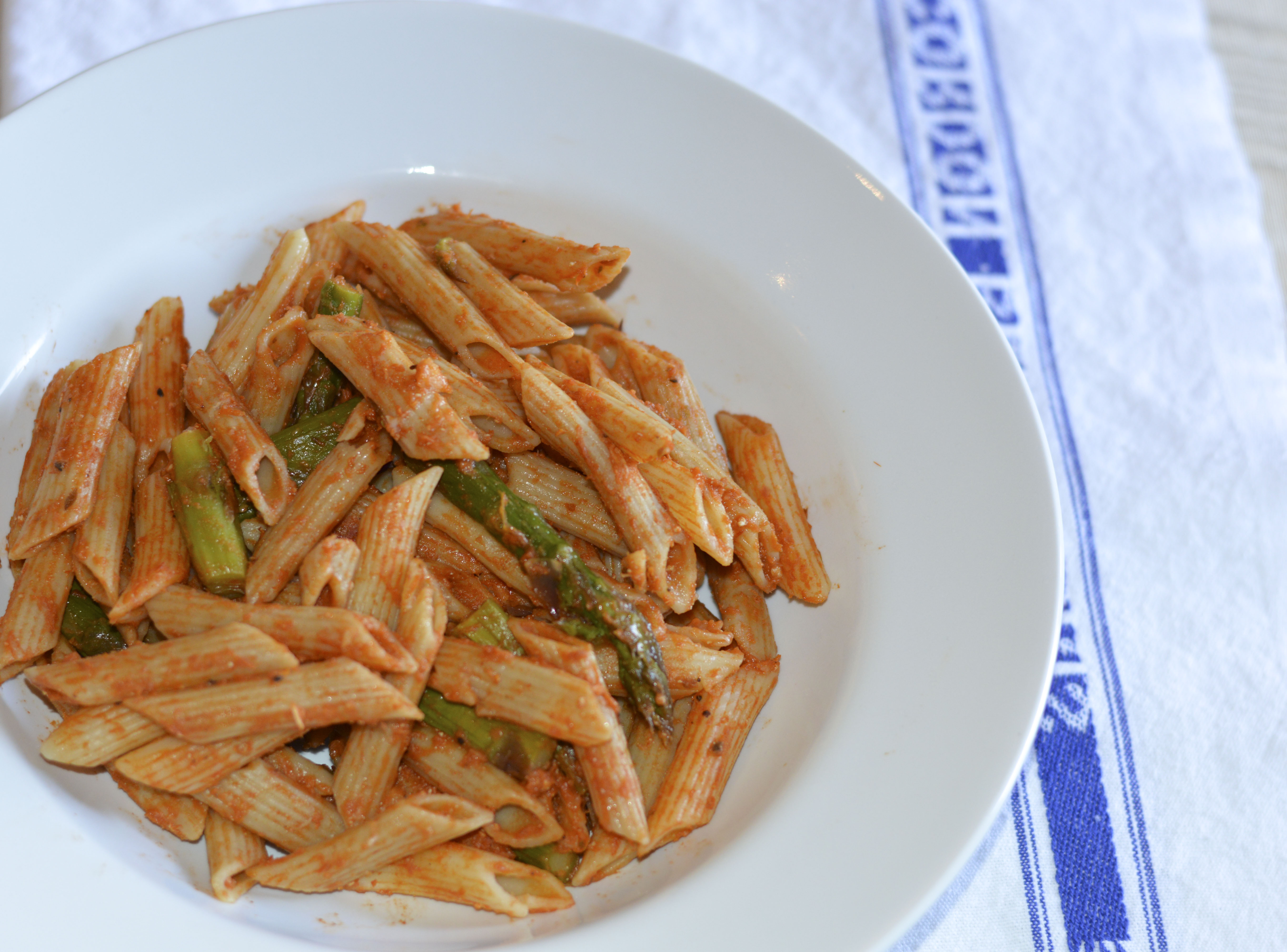 Penne in Vodka Sauce with Roasted Asparagus