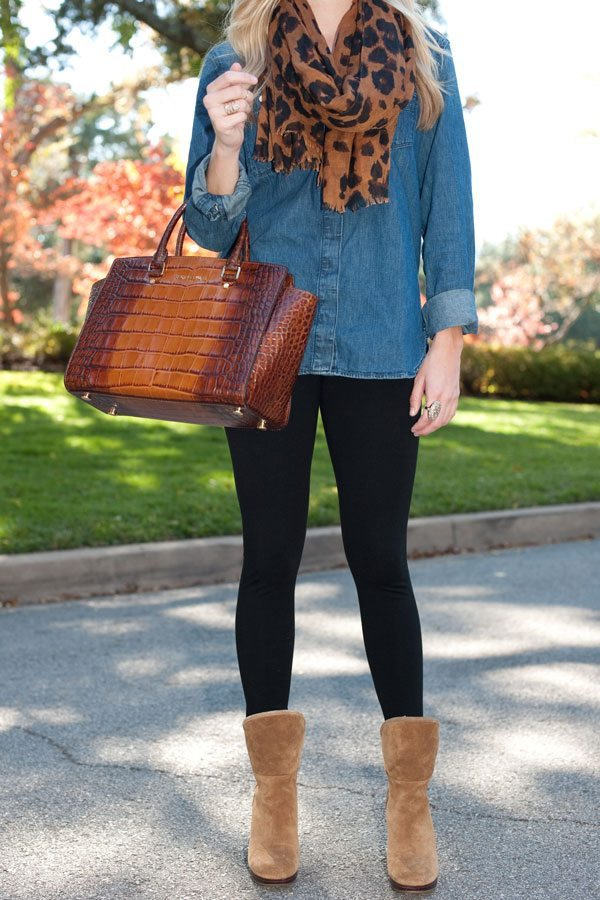 denim shirt and leopard scarf
