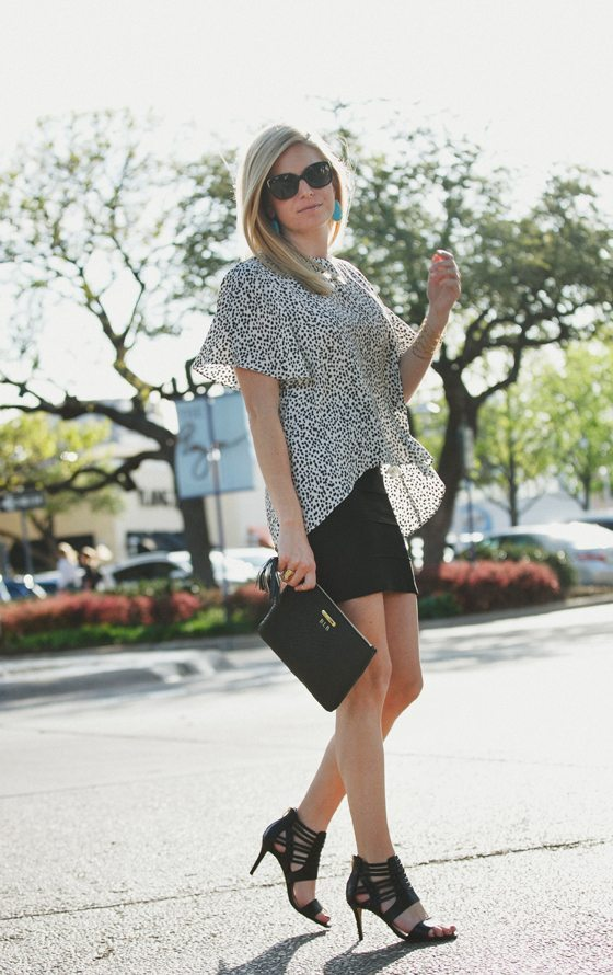 zara black and white dot top