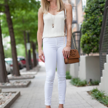 white jeans and top