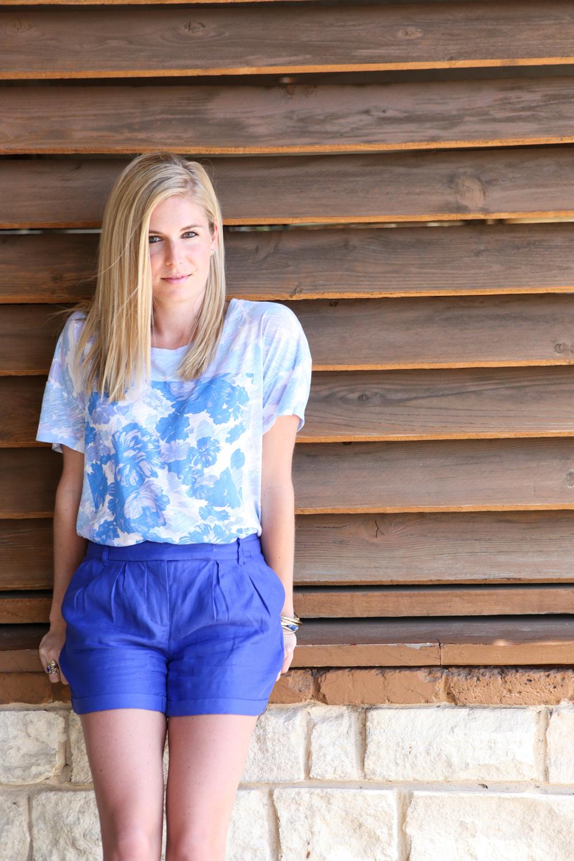 blue floral t shirt