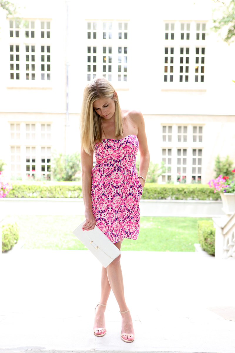 MM Couture printed strapless dress