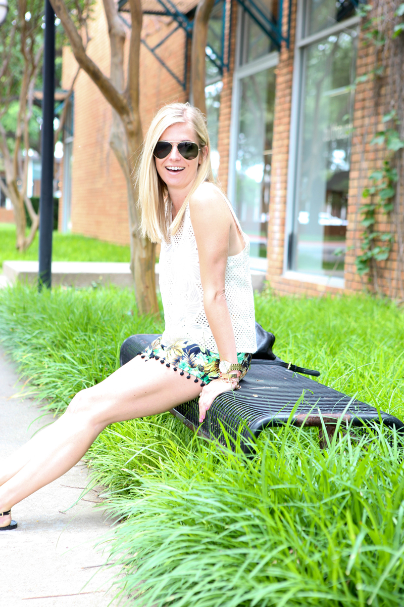 pom pom shorts with lace top