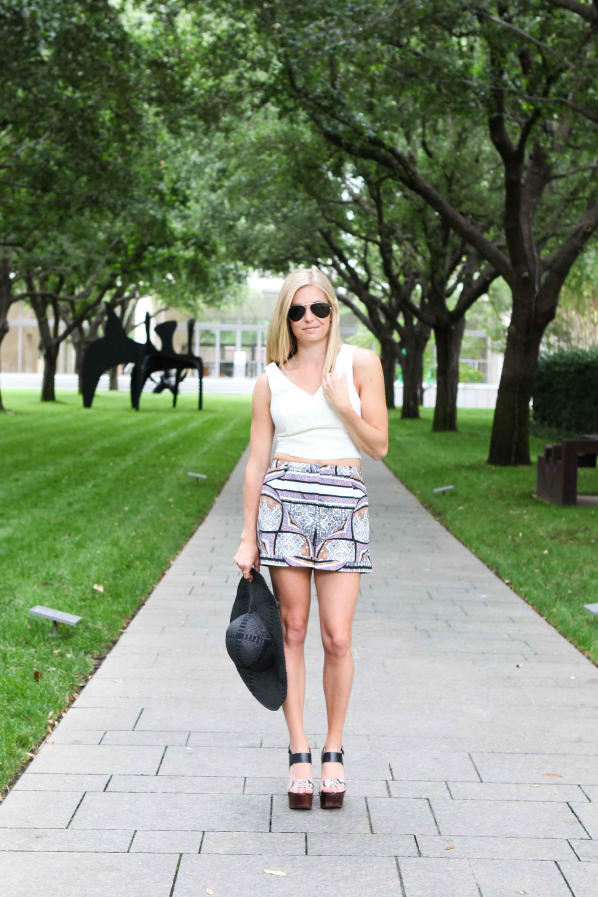 white crop top with scarf print shorts