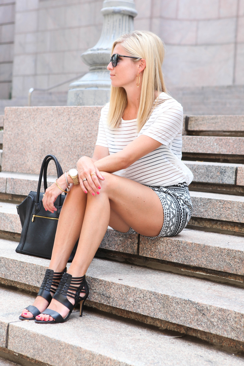 black and white shorts with top