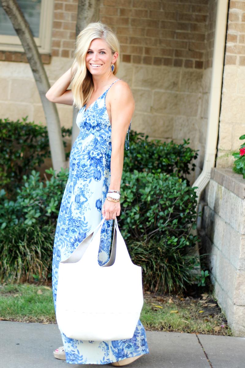 blue printed long maxi dress