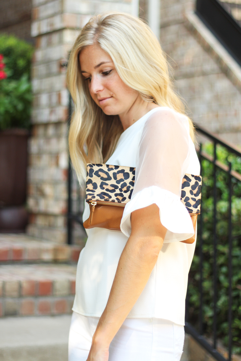 white blouse with ruffles