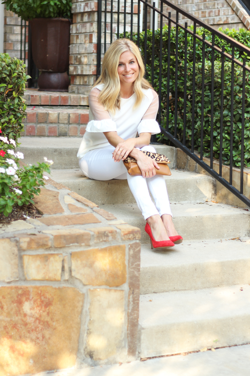 white blouse and white jeans