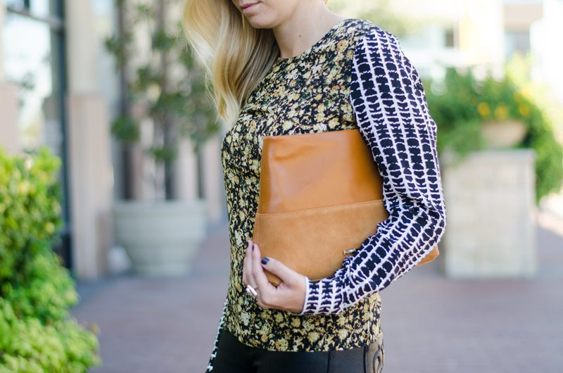black and yellow printed blouse