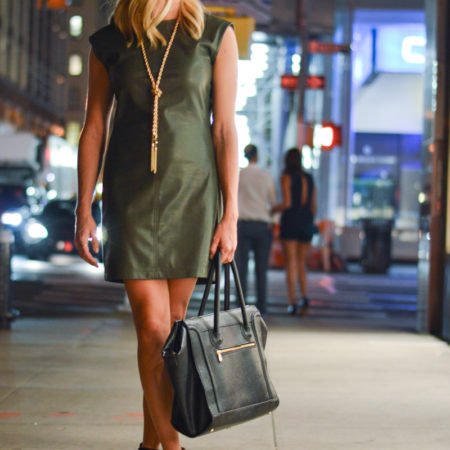 olive leather dress