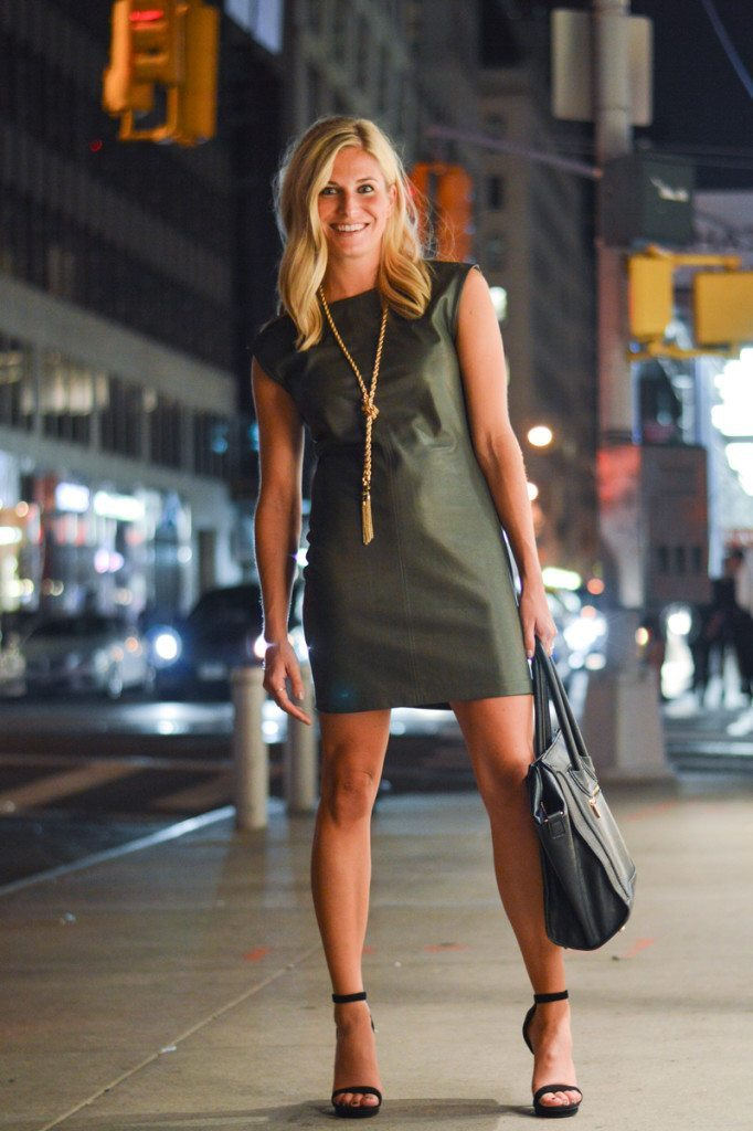 olive leather dress