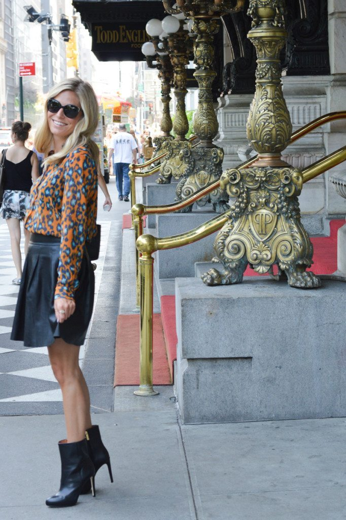 orange and blue leopard blouse