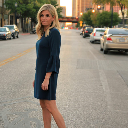 jewel neck dress in navy