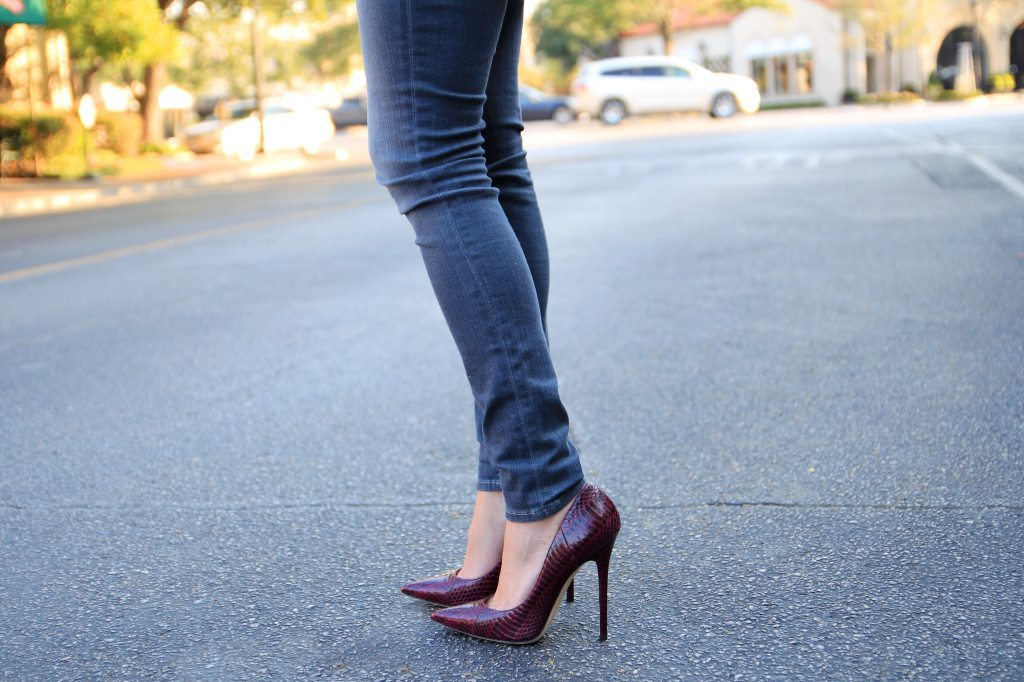 pointed toe burgundy pumps