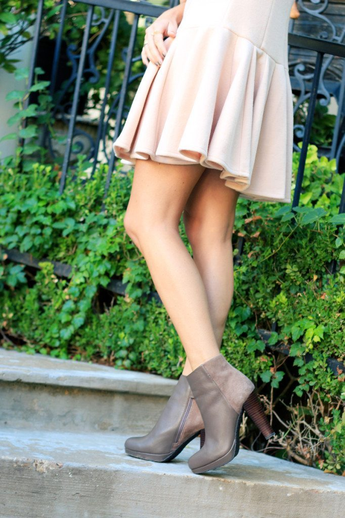 leather and suede bootie