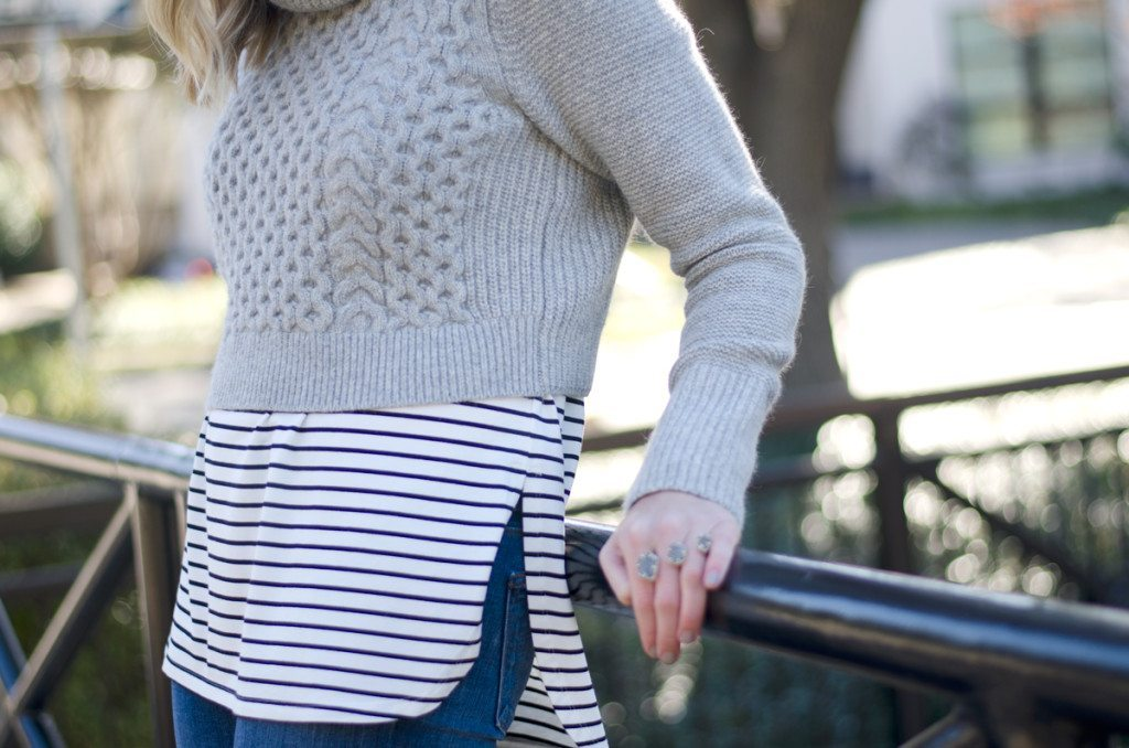 cropped grey turtleneck sweater
