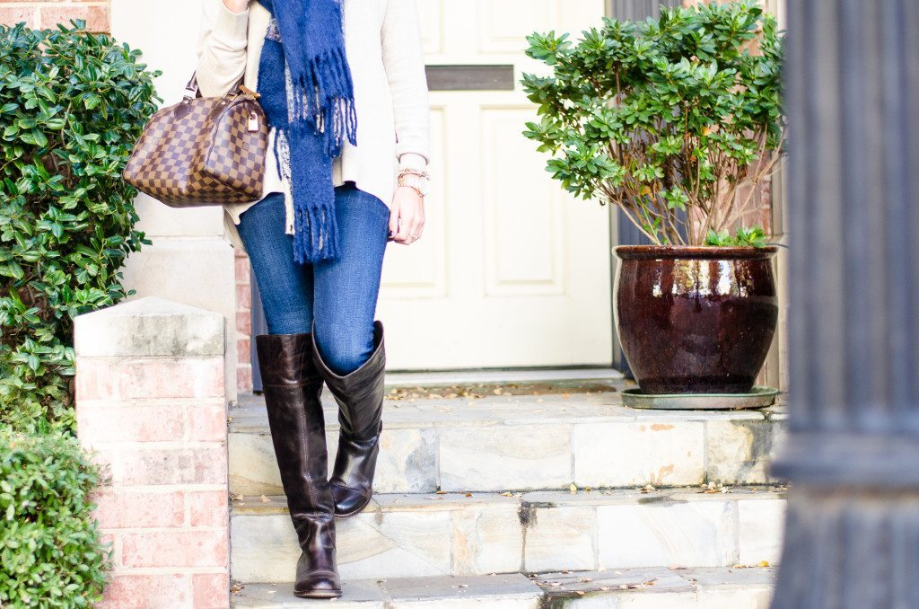 plaid blanket scarf with over the knee boots