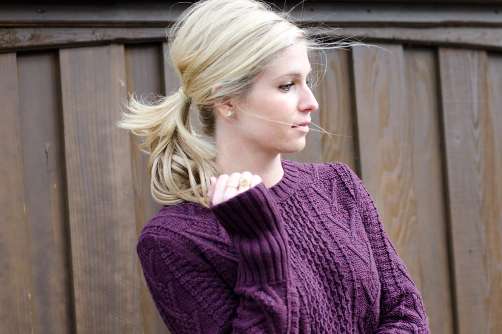 plum cable knit sweater