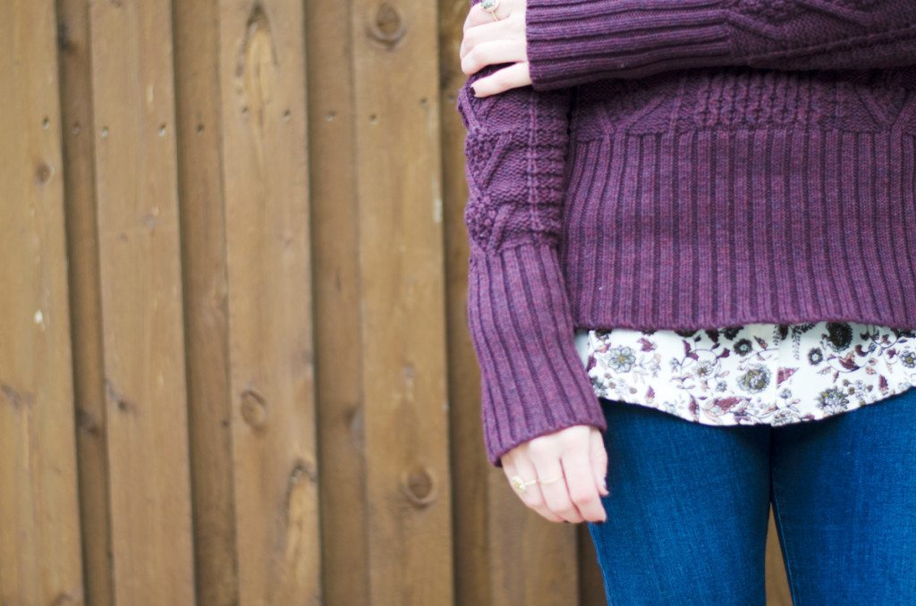 dark plum cable knit sweater