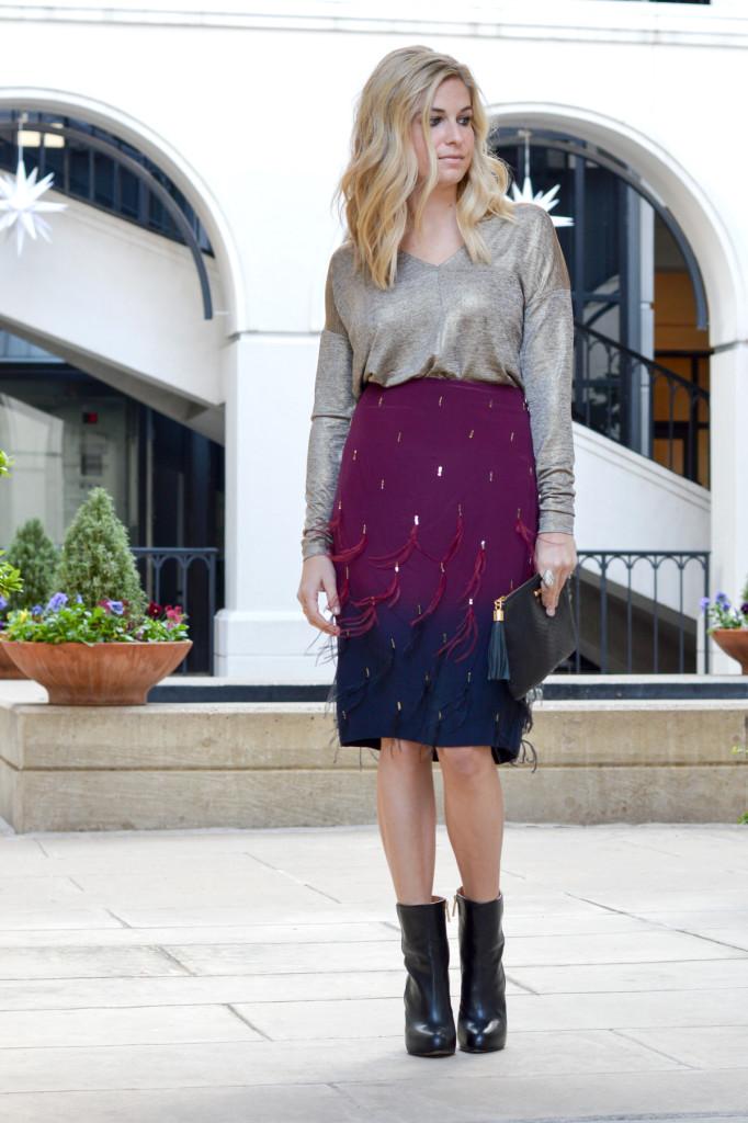 feather skirt Nicole Miller