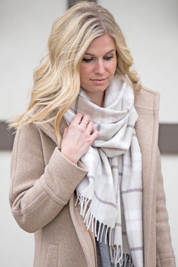 neutral plaid scarf