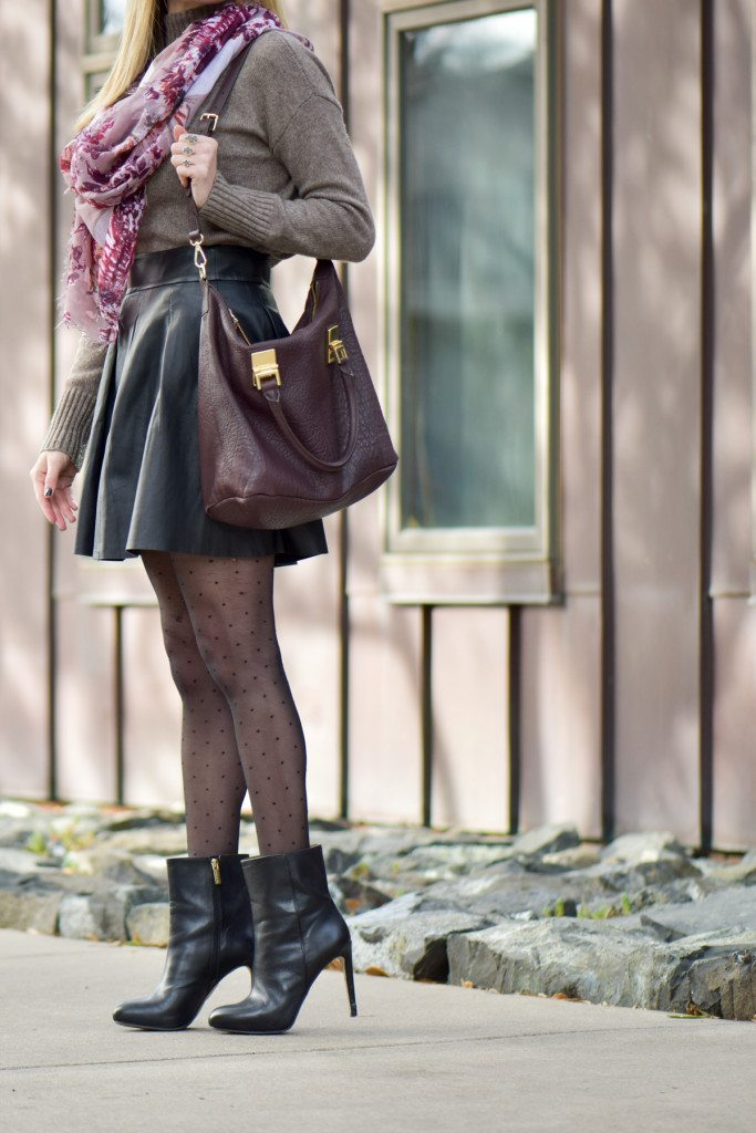 Black leather skirt and sweater