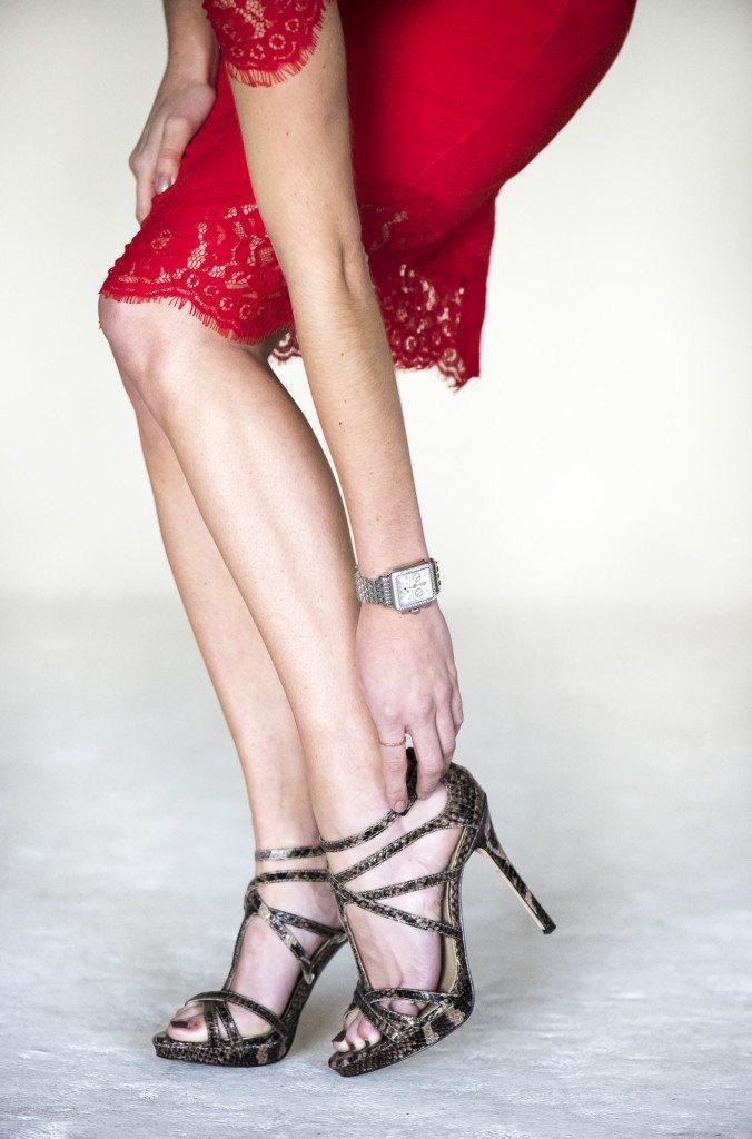 red lace trim dress
