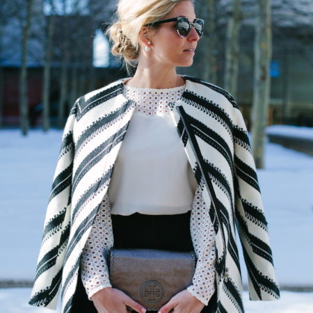 black and white striped coat