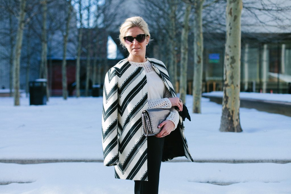 black and white striped coat