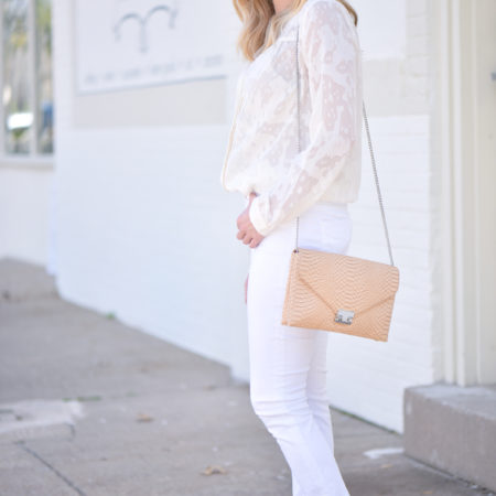 white jeans and blouse