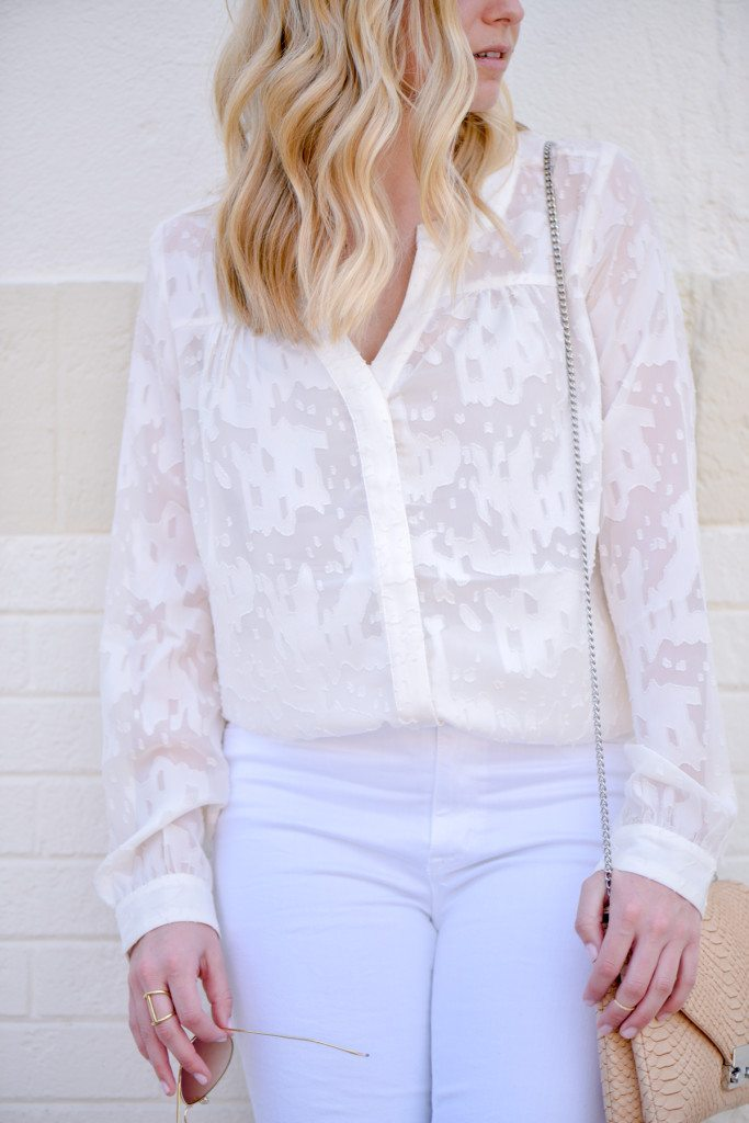off white floral blouse
