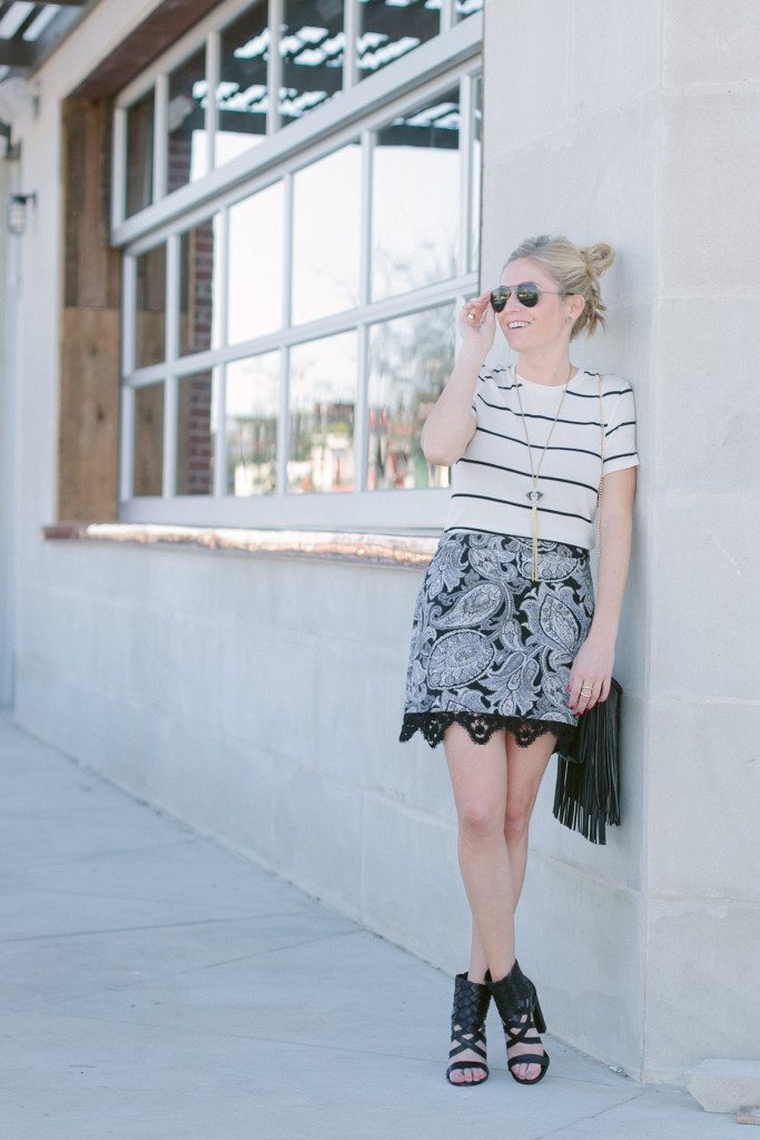 black and white stripe shirt and skirt