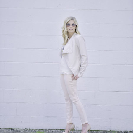 light pink jeans and bb dakota faux leather jacket