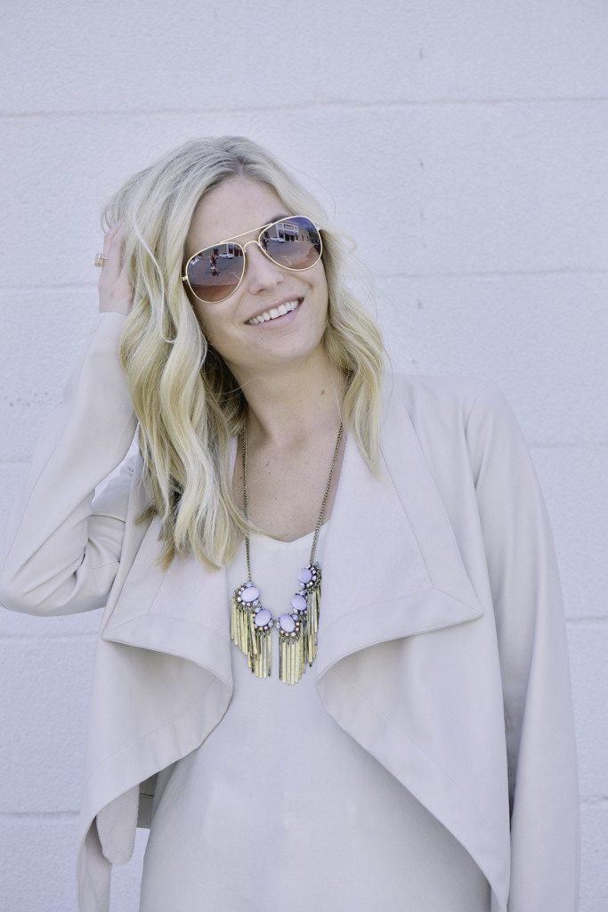 bb dakota faux leather jacket and baublebar fringe necklace