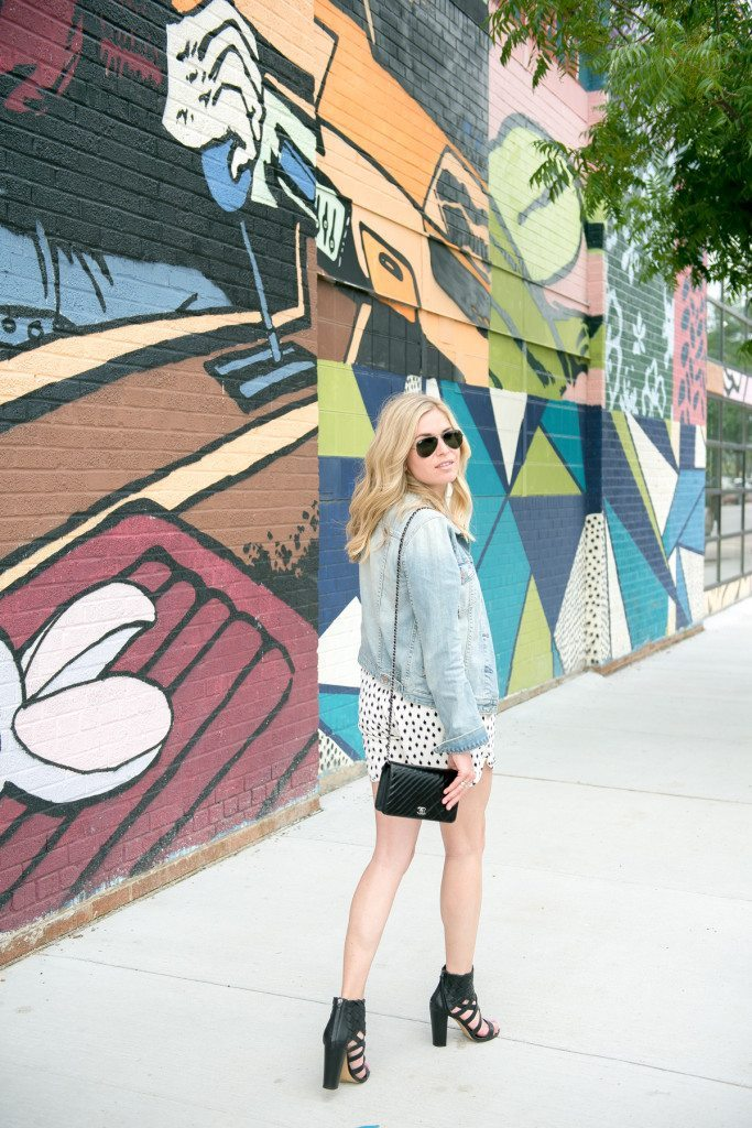 printed dot shorts and jean jacket