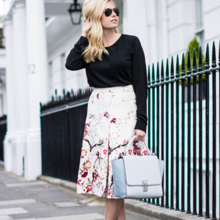 floral a line skirt