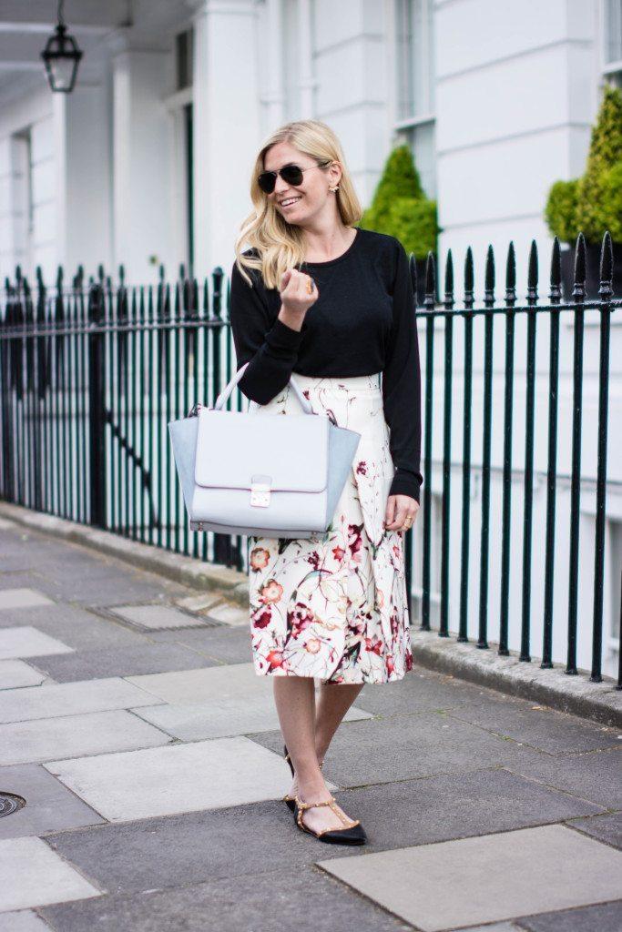 floral a line skirt