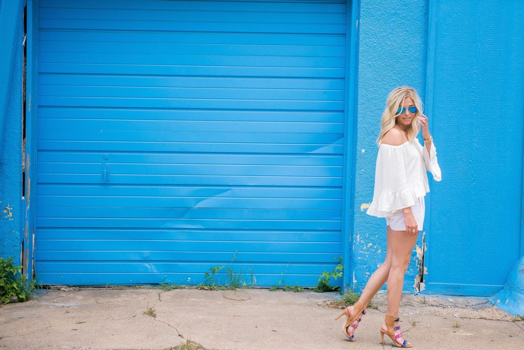 flowy off the shoulder top-summer night outfit