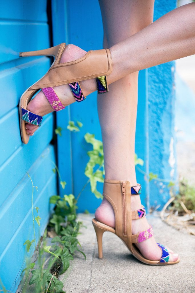 pink and blue beaded pumps