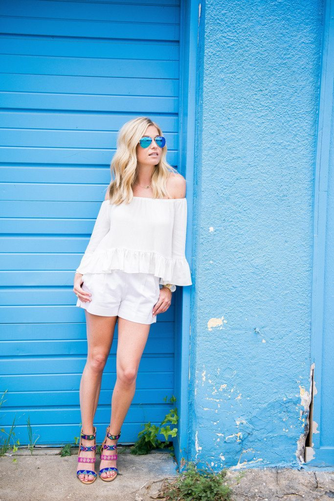 white off the shoulder top-white shorts
