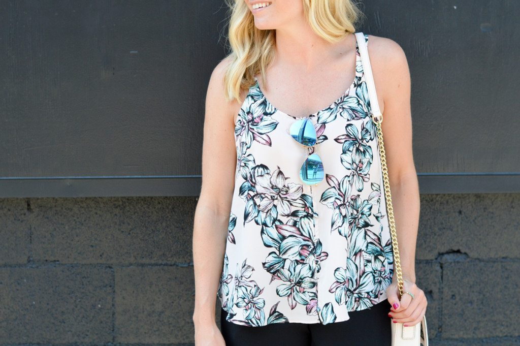 pink floral trapeze top