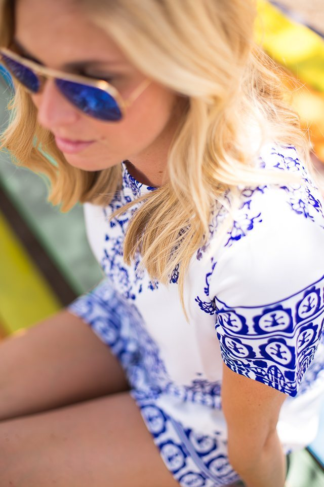 blue mirrored aviators-patterned short and top set