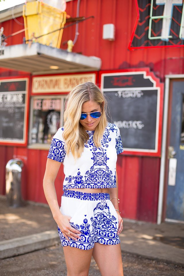 blue and white shorts and top matching set-4th of july outift idea
