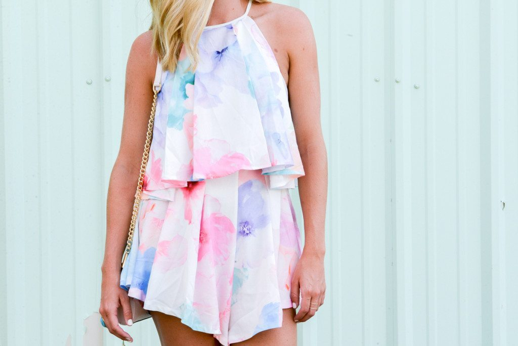 high neck printed romper-summer style