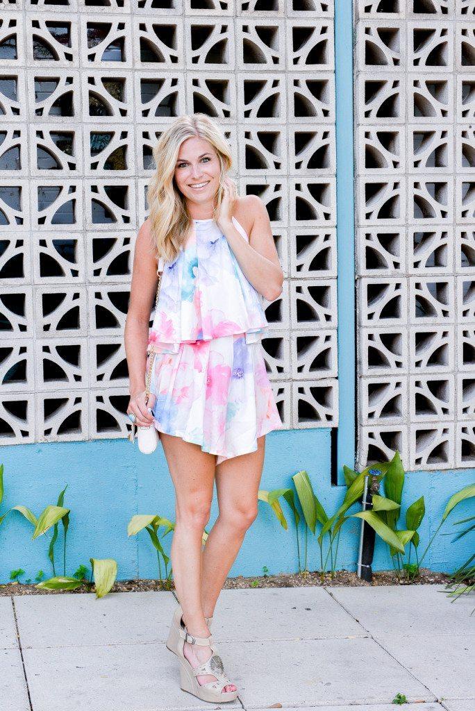 watercolor pastel romper-fashion blogger dallas