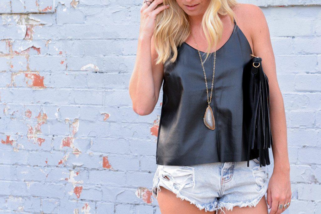 faux leather black cami-denim cut off shorts-agate pendant necklace