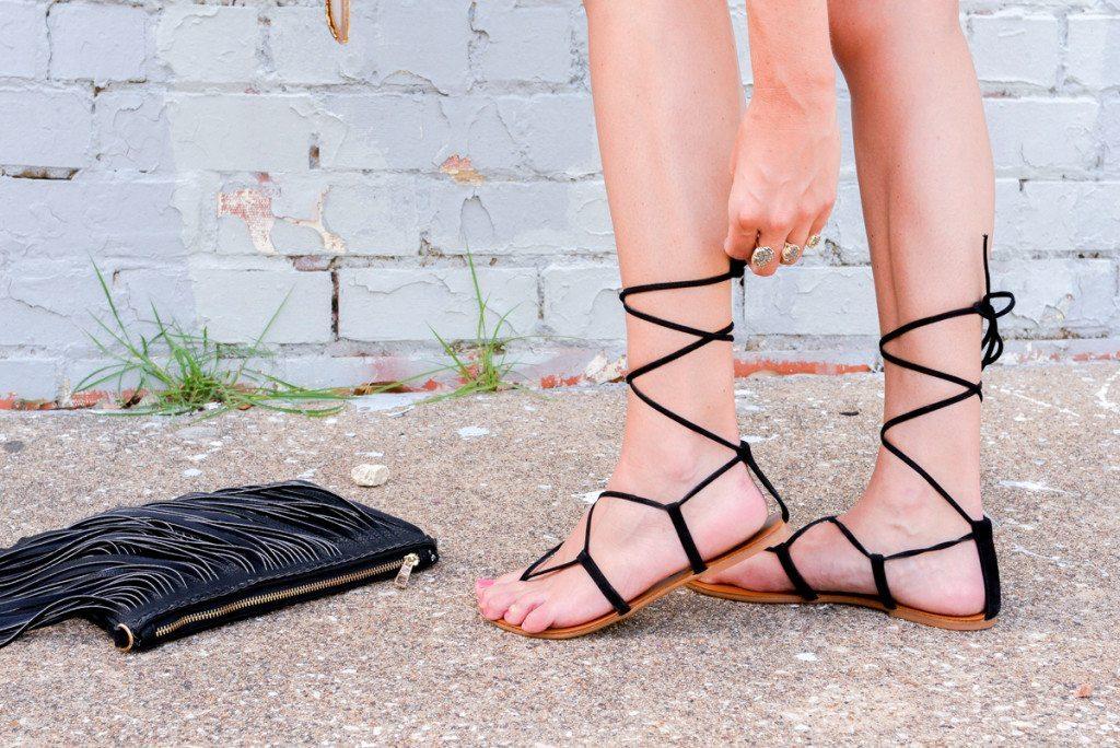 lace up sandals-fringe purse-gladiator sandal