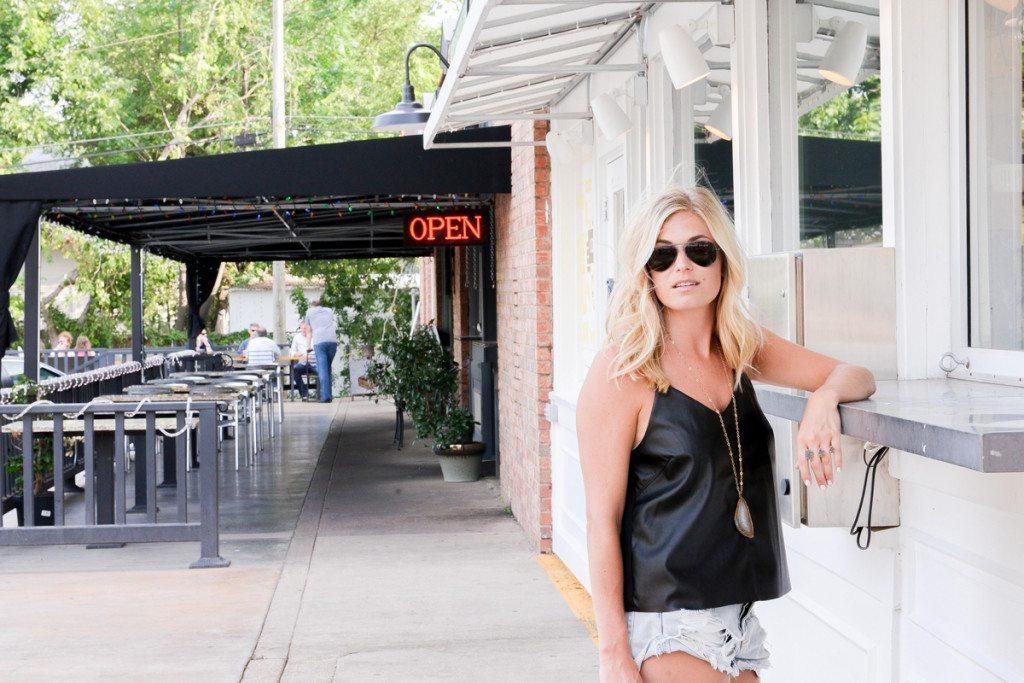 black leather top-faux leather cami-fashion blogger dallas