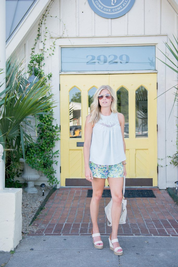 light blue lattice tank-andb floral shorts-ora delphine white bucket bag-tory burch white espadrilles-fashion blogger dallas texas